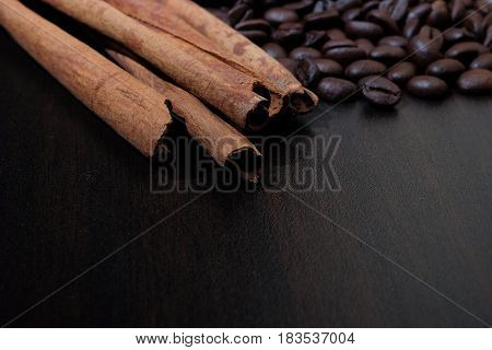 Coffee Beans And Cinnamon Sticks.