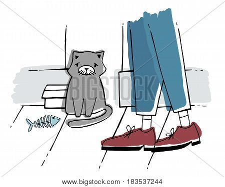 The stray cat at street. Homeless kitten with sad look. Hand drawn vector illustration