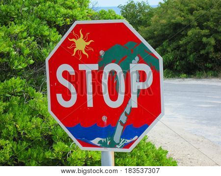 Tropical stop sign to make you relax