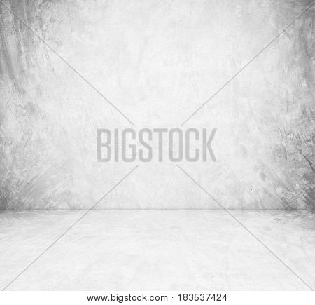 Empty gray cement room in perspective view grunge background vintage style interior design product display montage