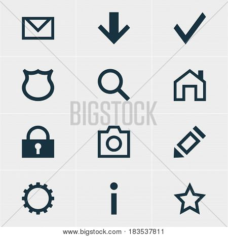 Vector Illustration Of 12 Interface Icons. Editable Pack Of Mainpage, Padlock, Snapshot And Other Elements.