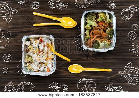 Healthy and tasty. Top view of vegeterian food standing on the wooden rustic table