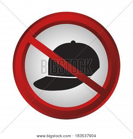 no caps sign icon over white background. colorful design. vector illustration