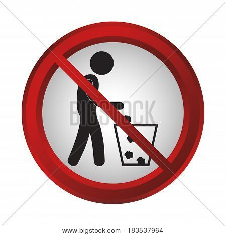 no trash sign icon over white background. colorful design. vector illustration