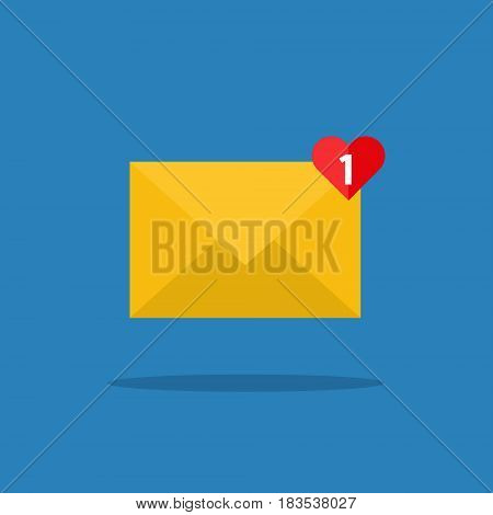 Concept of incoming email love message. Letter with counter notification, mail delivery service. Flat design, vector illustration.