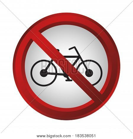 no bicycle sign icon over white background. colorful design. vector illustration