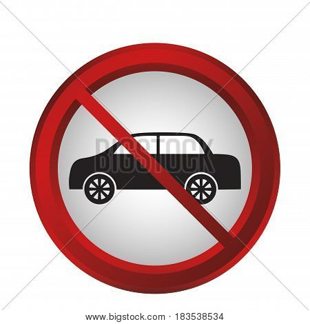 forbidden cars sign icon over white background. colorful design. vector illustration
