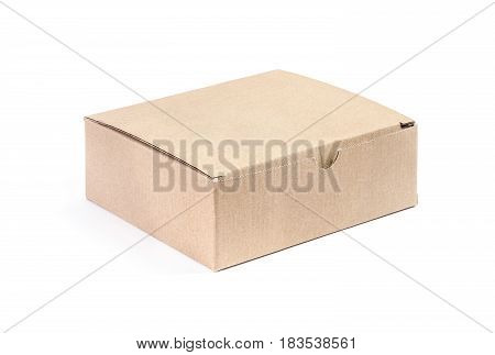 kraft cardboard box made by recycled paper isolated on white background