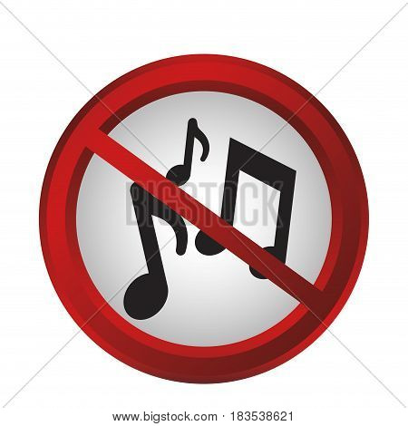 forbidden music sign icon over white background. colorful design. vector illustration