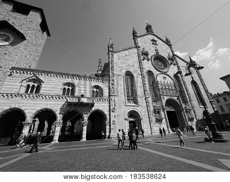 Cathedral Church And Broletto (town Hall) In Como In Black And White
