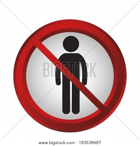 forbidden men sign icon over white background. colorful design. vector illustration