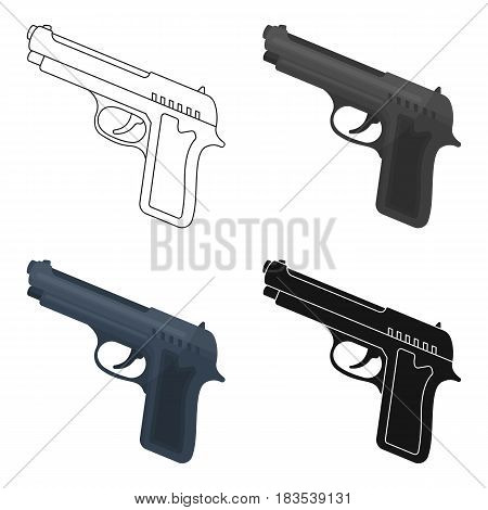 Handgun icon in cartoon design isolated on white background. Police symbol stock vector illustration.