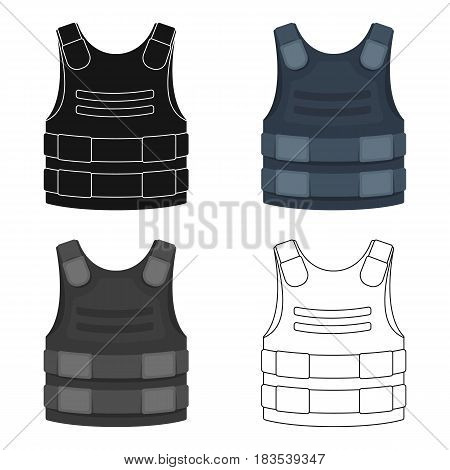 Bulletproof vest icon in cartoon design isolated on white background. Police symbol stock vector illustration.