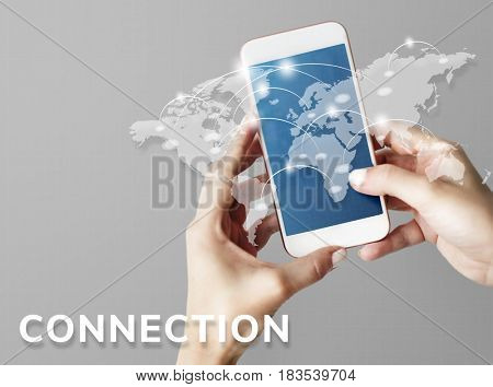 Hands working on digital device network graphic