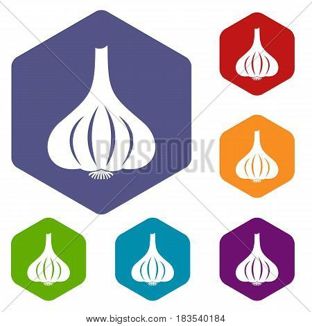 Garlic icons set hexagon isolated vector illustration