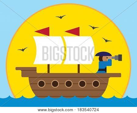 Captain of cartoon sailing ship is looking toward horizon with his telescope