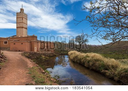 Mosque in the small town of Inkkal in the High Atlas of Morocco; Concept for travel in Morocco