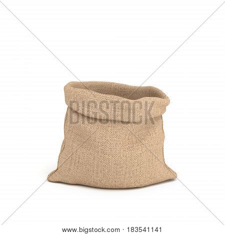 3d rendering of open canvas sacks in front view isolated on white background. Transportation and delivery. Buying in bulk. Dry goods.