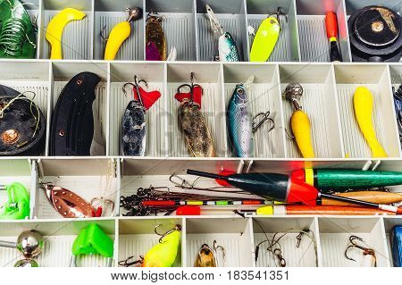 fishing gears equipment tackle box baits fisherman reel wobblers jig float feeder