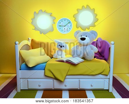 Children's toys and book are located on a bed. Fairy tale for the night. 3D illustration