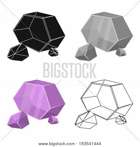 Purple rough gemstone icon in cartoon design isolated on white background. Precious minerals and jeweler symbol stock vector illustration.