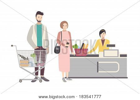 Concept for supermarket or shop. Illustration with buyers characters near the cash register, people with shopping cart