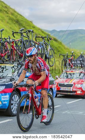 Col de PeyresourdeFrance- July 23 2014: The Italian cyclist Luca Paolini (Team Katusha) climbing the road to Col de Peyresourde in Pyrenees Mountains during the stage 17 of Le Tour de France on 23 July 2014.