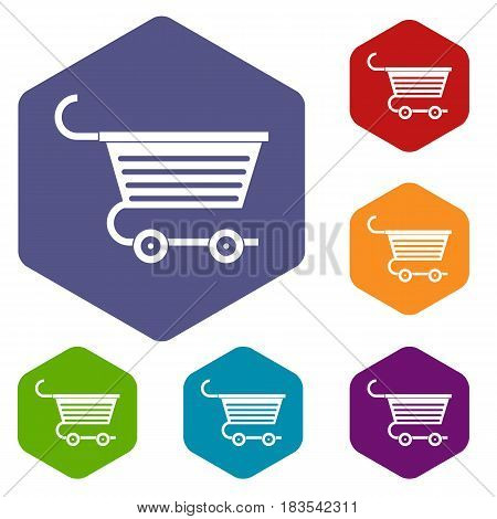 Shopping trolley icons set hexagon isolated vector illustration