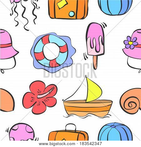Patter summer theme collection stock vector illustration