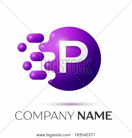 P Letter splash logo. Purple dots and circle bubble letter design on grey background. Vector Illustration