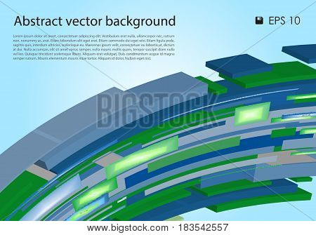 Vector abstract colorful background with 3D rectangle wave in green and blue color