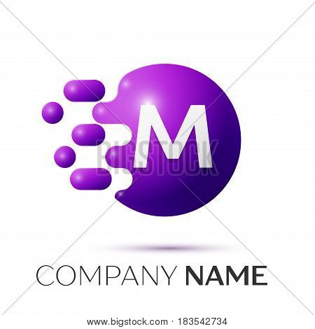M Letter splash logo. Purple dots and circle bubble letter design on grey background. Vector Illustration