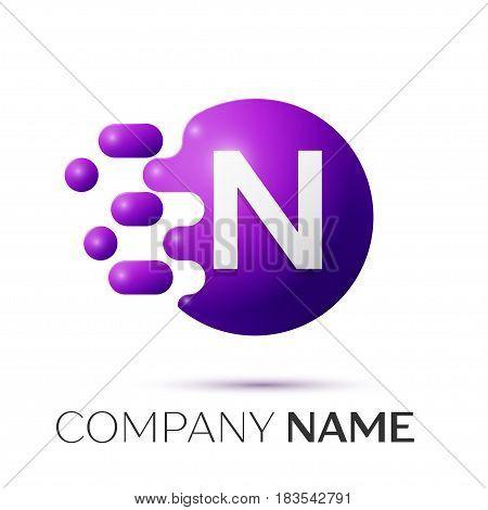 N Letter splash logo. Purple dots and circle bubble letter design on grey background. Vector Illustration