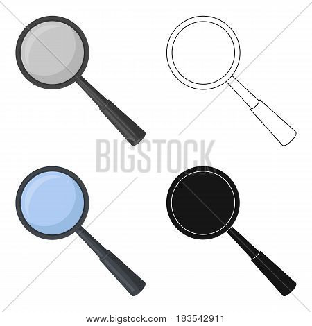 Magnifying glass icon in cartoon design isolated on white background. Precious minerals and jeweler symbol stock vector illustration.