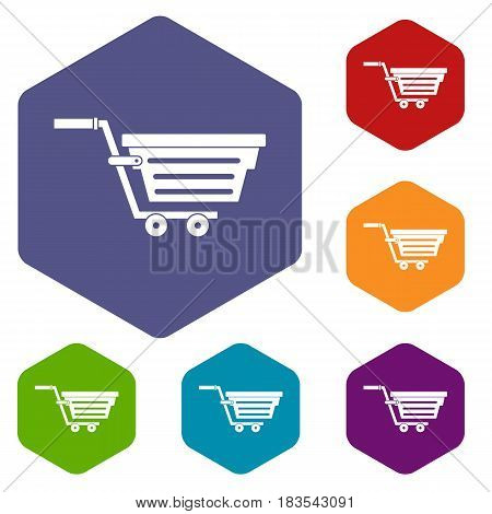 Shopping basket on wheels icons set hexagon isolated vector illustration