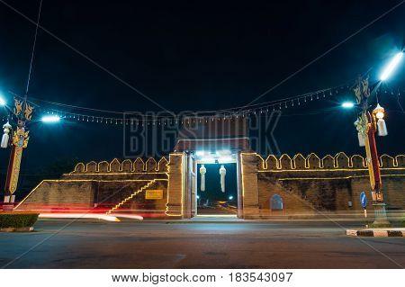 Tha Pratu Thanang Gate of old city in LamphunThailand.