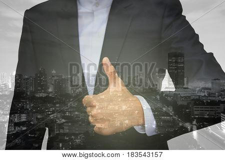Business Man Hand With Thumb Up Isolated On White