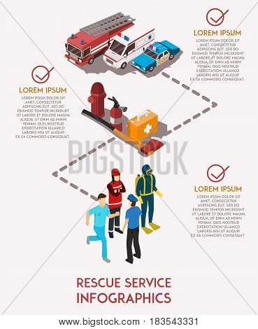 Isometric infographics with text field rescue service workers their cars and equipment vector illustration