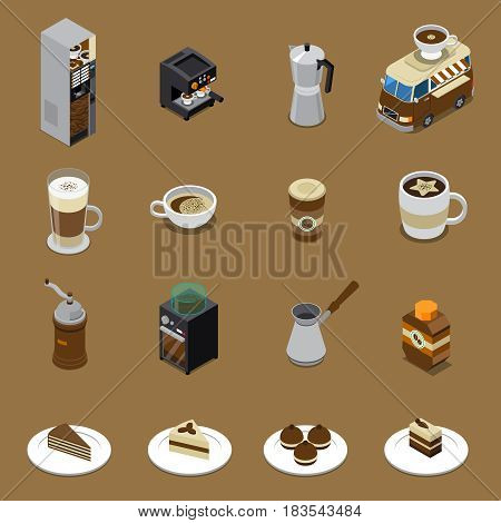 Coffee isometric set with beverages and sweets on plates vending machine grinder cezve car isolated vector illustration