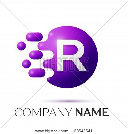 R Letter splash logo. Purple dots and circle bubble letter design on grey background. Vector Illustration