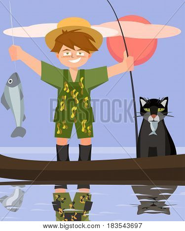 boy and cat fishing from the boat - funny vector cartoon illustration