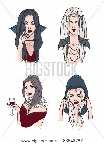 Set of various vampire girl. Woman with fangs and blood. Collection stylish portrait halloween character. Hand drawn vector illustration