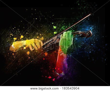 Hands playing wooden violin with paint splatters flying on black background