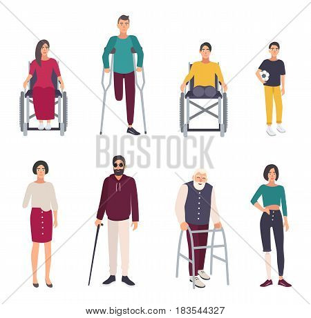 Different disabled people. Cartoon flat illustrations set