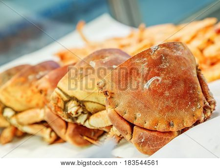 Half Of Fresh Crab On Ice For Sale In A Fish Market