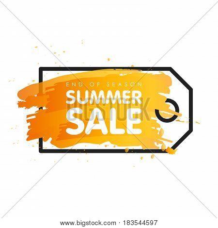 End Of Season Summer Sale Sign Price Tag Label Vector Illustration Banner