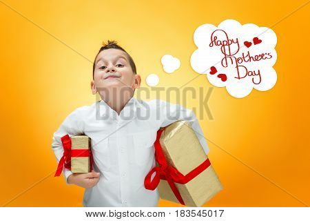 The boy with gift box. Happy mothers day concept