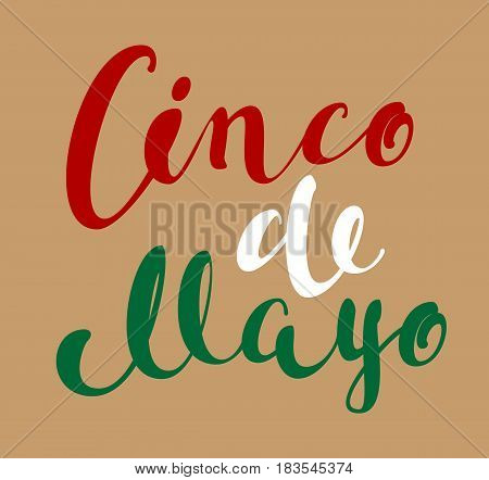 Cinco de Mayo lettering text for greeting card. Vector script illustration