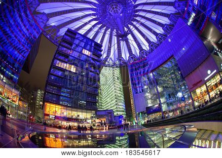 BERLIN, GERMANY - APRIL 6: Sony centre at night in Potsdamer platz in Berlin on April 6, 2017 in Berlin