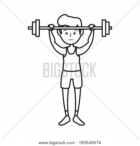 man lifting dumbbells, cartoon icon over white background. fitness lifestyle concept.  vector illustration
